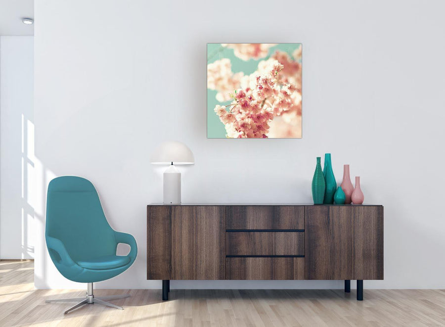 modern japanese cherry blossom shabby chic pink blue floral canvas modern 64cm square 1s288m for your living room