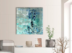 Contemporary Turquoise Teal Abstract Painting Wall Art Print Canvas Modern 79cm Square 1S333L For Your Hallway