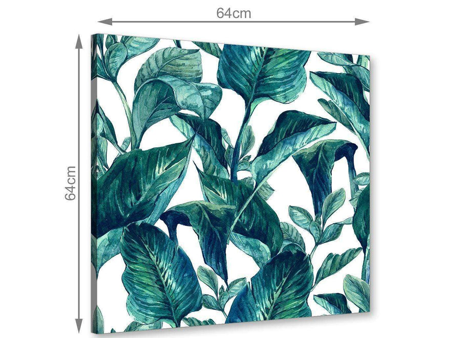 Chic Teal Blue Green Tropical Exotic Leaves Canvas Modern 64cm Square 1S325M For Your Dining Room