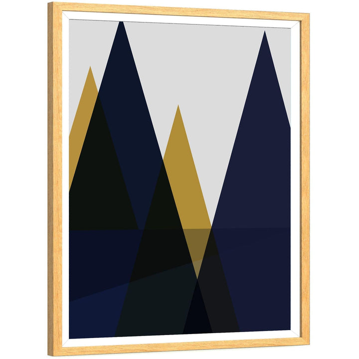 Abstract Navy & Yellow Mountains Painting Framed Wall Art Print