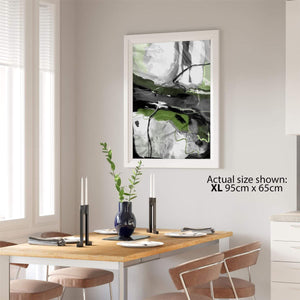 Abstract Lime Green Grey Artwork Framed Art Prints