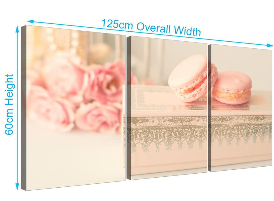 panoramic pink cream french shabby chic bedroom abstract canvas multi 3 part 3284 for your bedroom