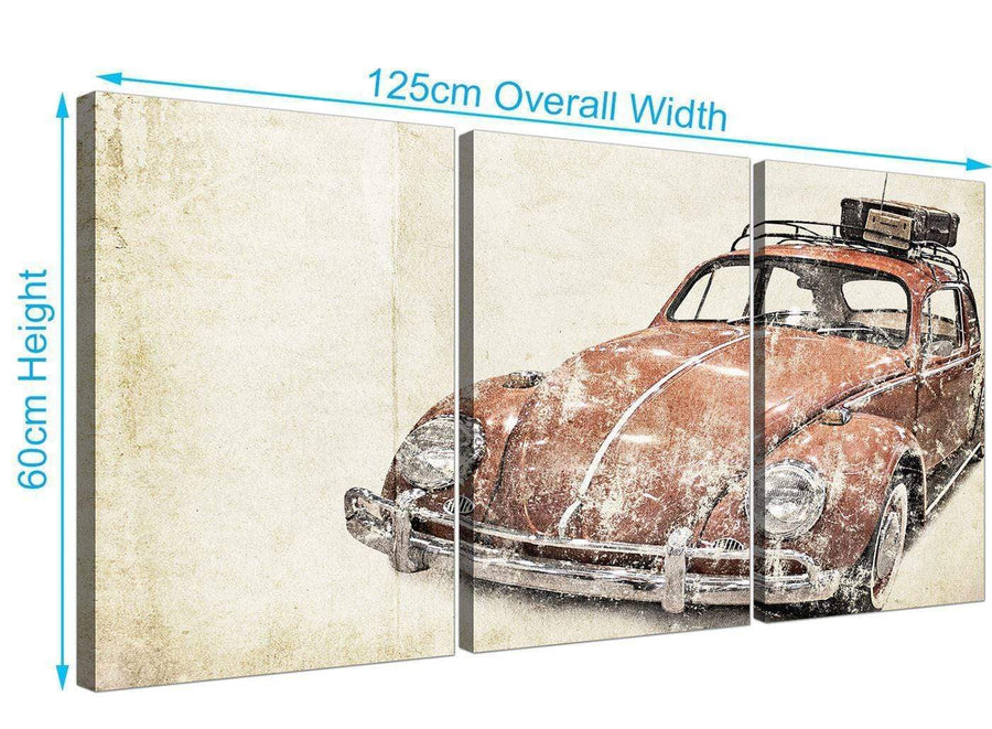 panoramic vw beetle bug rat look surfer brown volkswagen lifestyle canvas split set of 3 3279 for your boys bedroom