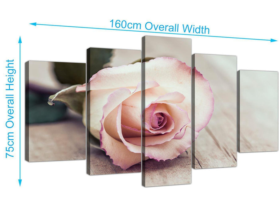 panoramic extra large vintage shabby chic french rose cream floral canvas split 5 panel 5278 for your girls bedroom