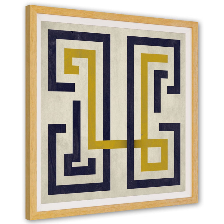 Navy Blue Mustard Yellow Geometric Illustration Canvas Art Pictures