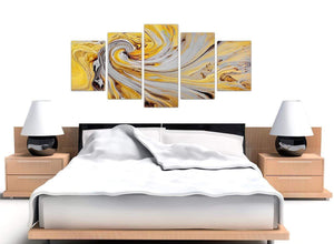 oversized extra large yellow and grey spiral swirl abstract canvas split 5 set 5290 for your bedroom