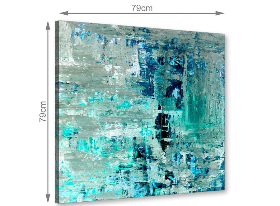 Chic Turquoise Teal Abstract Painting Wall Art Print Canvas Modern 79cm Square 1S333L For Your Hallway