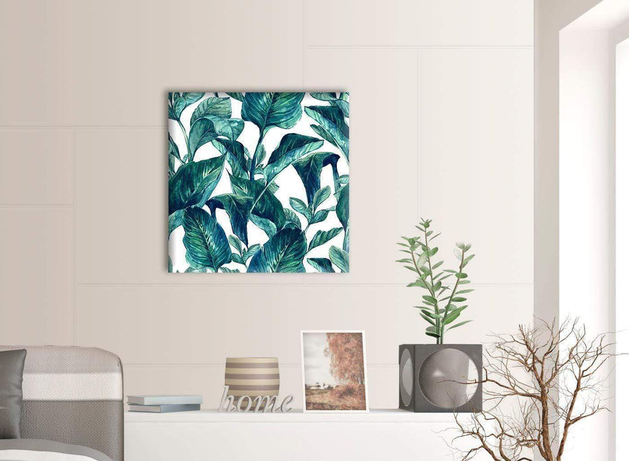 Contemporary Teal Blue Green Tropical Exotic Leaves Canvas Modern 64cm Square 1S325M For Your Living Room