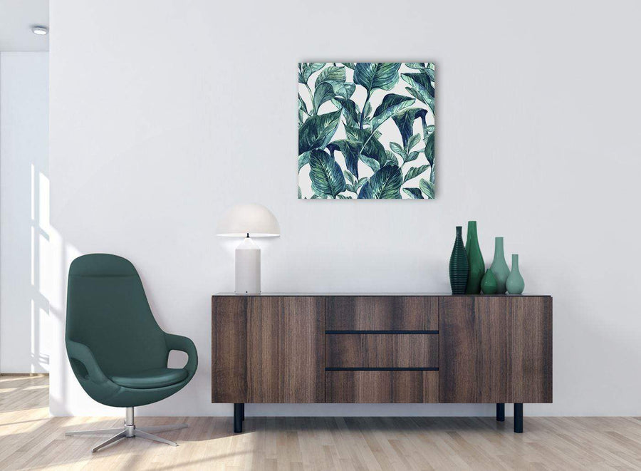 Cheap Teal Blue Green Tropical Exotic Leaves Canvas Modern 64cm Square 1S325M For Your Bedroom