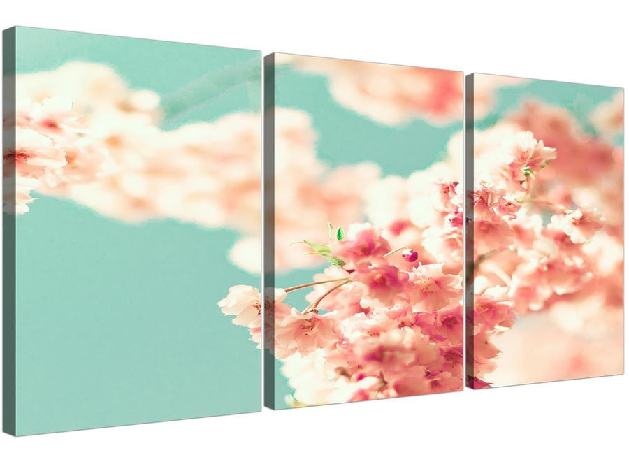 cheap japanese cherry blossom shabby chic pink blue floral canvas split 3 piece 3288 for your living room