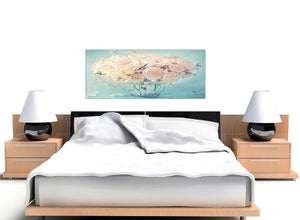 oversized duck egg blue and white roses flowers floral canvas modern 120cm wide 1286 for your living room