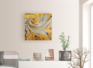 chic mustard yellow and grey spiral swirl abstract canvas modern 64cm square 1s290m for your hallway