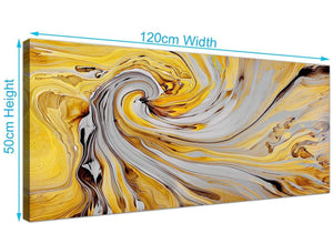 panoramic yellow and grey spiral swirl abstract canvas modern 120cm wide 1290 for your hallway