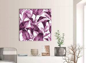 Contemporary Plum Aubergine White Tropical Leaves Canvas Modern 79cm Square 1S319L For Your Bedroom