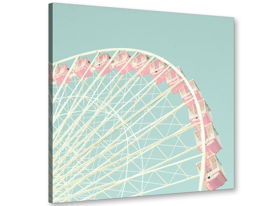 cheap shabby chic duck egg blue pink ferris wheel lifestyle canvas 49cm square 1s282s for your teenage girls bedroom