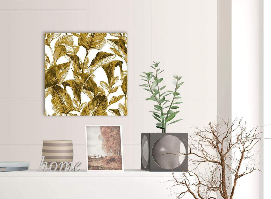 Contemporary Mustard Yellow White Tropical Leaves Canvas Modern 49cm Square 1S318S For Your Living Room