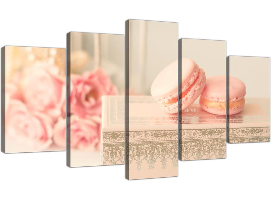 cheap extra large pink cream french shabby chic bedroom abstract canvas multi set of 5 5284 for your study