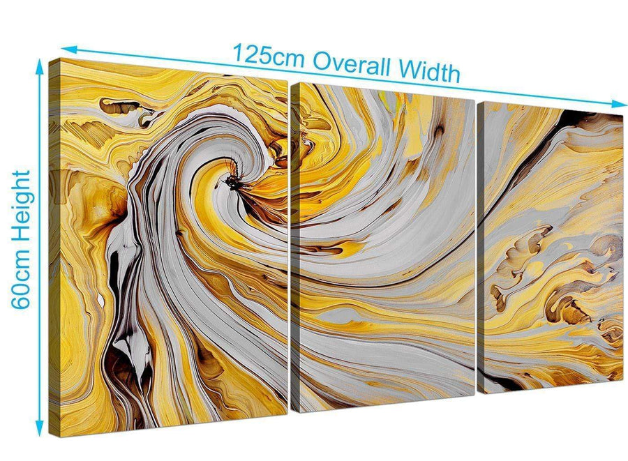 panoramic yellow and grey spiral swirl abstract canvas split set of 3 3290 for your hallway