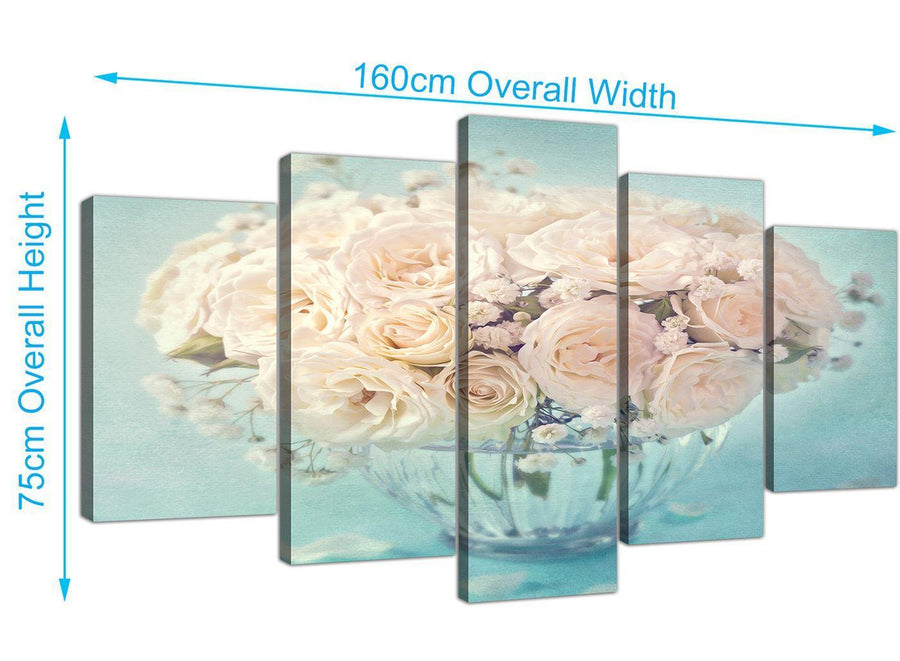 panoramic extra large duck egg blue and white roses flowers floral canvas multi 5 piece 5286 for your living room