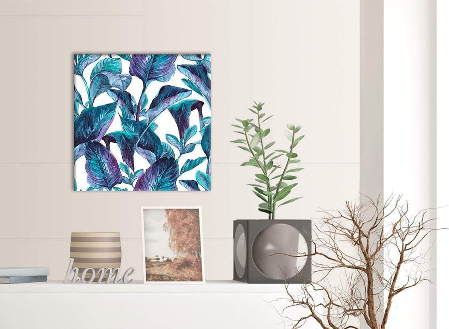 Contemporary Turquoise And White Tropical Leaves Canvas Modern 49cm Square 1S323S For Your Living Room