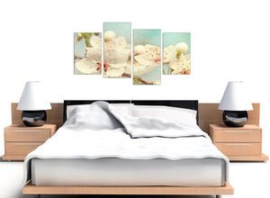 oversized large japanese cherry blossom duck egg blue white floral canvas split 4 panel 4289 for your hallway