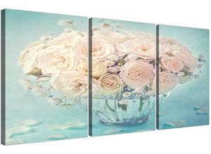 cheap duck egg blue and white roses flowers floral canvas split 3 set 3286 for your living room