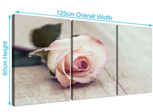 panoramic vintage shabby chic french rose cream floral canvas split 3 panel 3278 for your bedroom