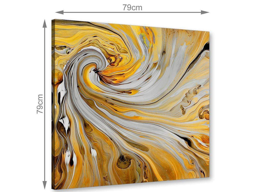 contemporary mustard yellow and grey spiral swirl abstract canvas modern 79cm square 1s290l for your hallway