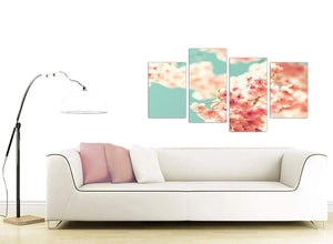 contemporary large japanese cherry blossom shabby chic pink blue floral canvas split 4 panel 4288 for your girls bedroom