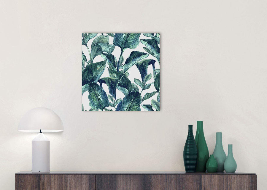 Cheap Teal Blue Green Tropical Exotic Leaves Canvas Modern 49cm Square 1S325S For Your Dining Room