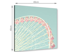 chic shabby chic duck egg blue pink ferris wheel canvas 49cm square 1s282s for your teenage girls bedroom