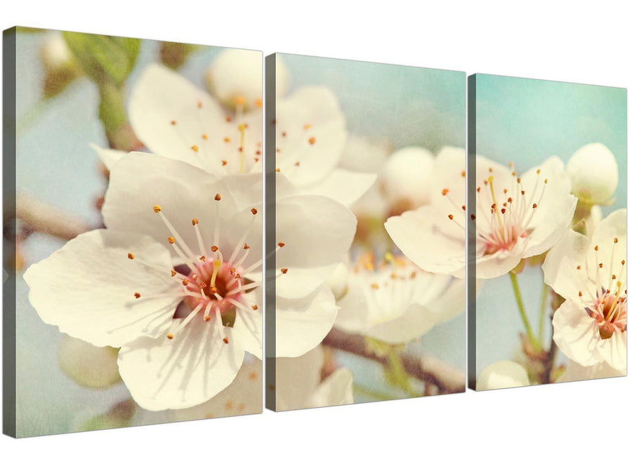 cheap japanese cherry blossom duck egg blue white floral canvas multi triptych 3289 for your bedroom