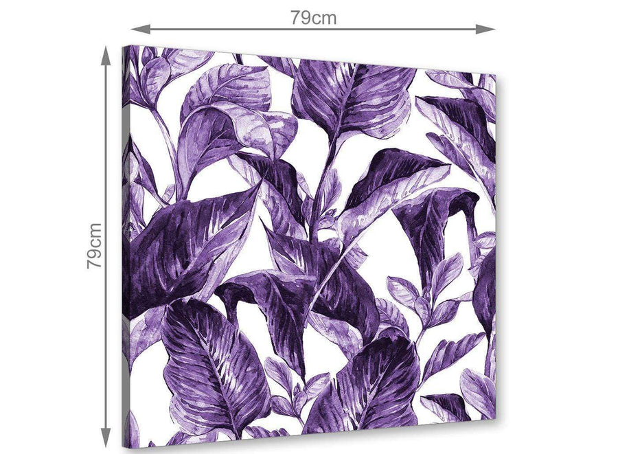 Chic Dark Purple White Tropical Exotic Leaves Canvas Modern 79cm Square 1S322L For Your Living Room
