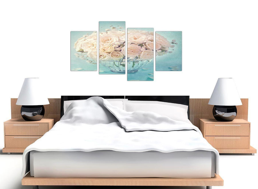 oversized large duck egg blue and white roses flowers floral canvas split 4 set 4286 for your living room