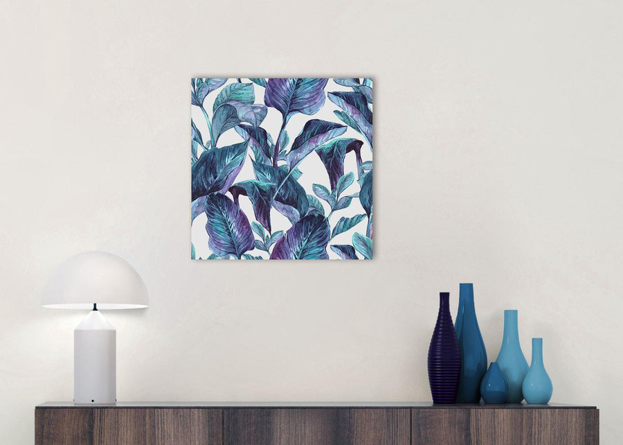 Cheap Turquoise And White Tropical Leaves Canvas Modern 49cm Square 1S323S For Your Dining Room