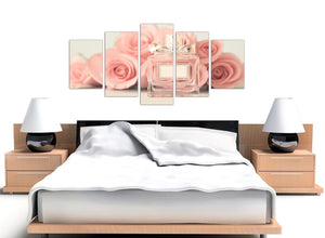 oversized extra large shabby chic pink cream rose perfume girls bedroom floral canvas multi 5 piece 5285 for your teenage girls bedroom