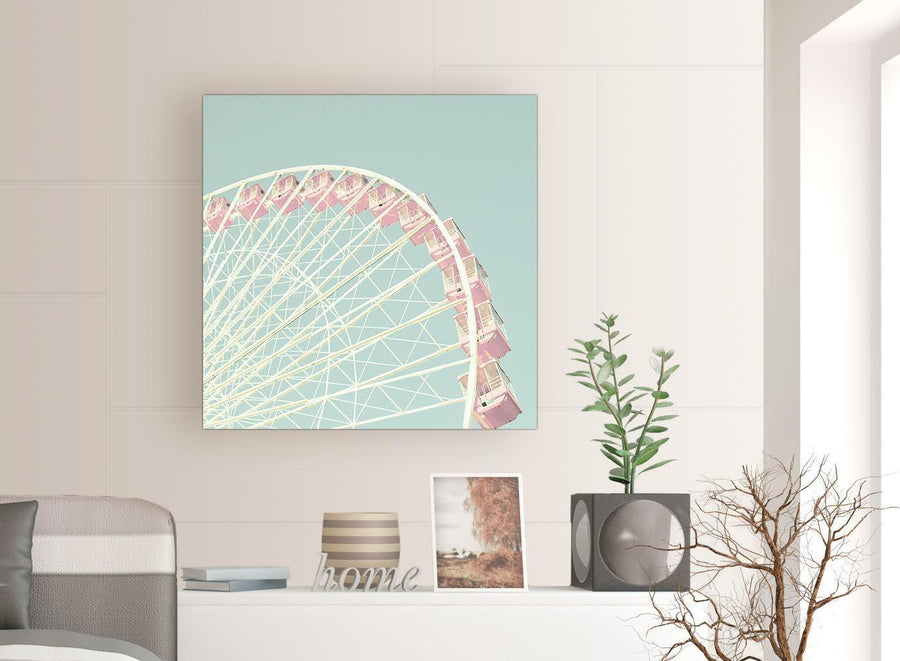 contemporary shabby chic duck egg blue pink ferris wheel lifestyle canvas modern 79cm square 1s282l for your teenage girls bedroom