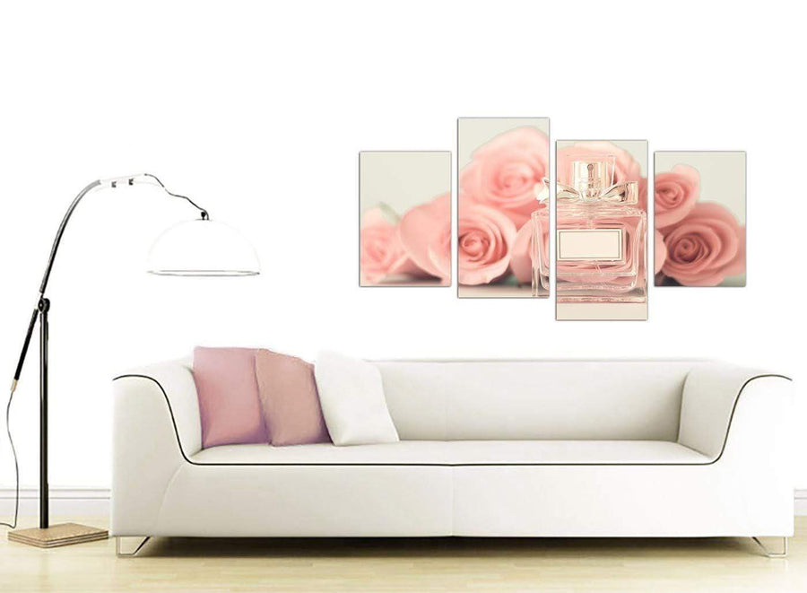 contemporary large shabby chic pink cream rose perfume girls bedroom floral canvas split 4 part 4285 for your teenage girls bedroom