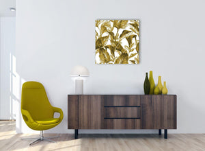 Cheap Mustard Yellow White Tropical Leaves Canvas Modern 64cm Square 1S318M For Your Bedroom