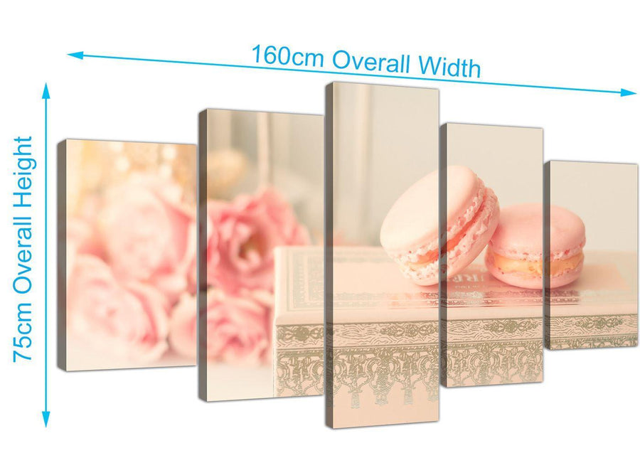 panoramic extra large pink cream french shabby chic bedroom abstract canvas multi 5 panel 5284 for your bedroom