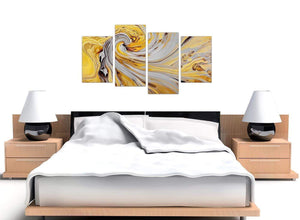 oversized large yellow and grey spiral swirl abstract canvas split 4 piece 4290 for your bedroom