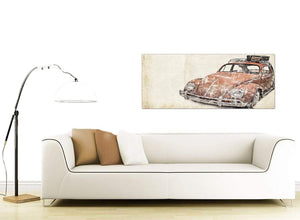contemporary vw beetle bug rat look surfer brown volkswagen lifestyle canvas modern 120cm wide 1279 for your boys bedroom