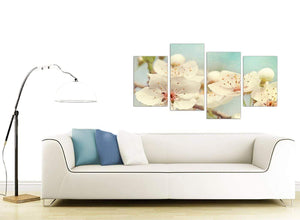 contemporary large japanese cherry blossom duck egg blue white floral canvas multi 4 part 4289 for your hallway