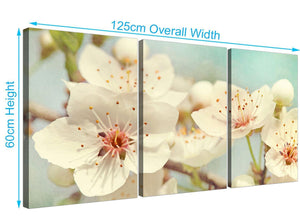 panoramic japanese cherry blossom duck egg blue white floral canvas split set of 3 3289 for your girls bedroom