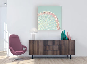 contemporary shabby chic duck egg blue pink ferris wheel lifestyle canvas modern 79cm square 1s282l for your bedroom