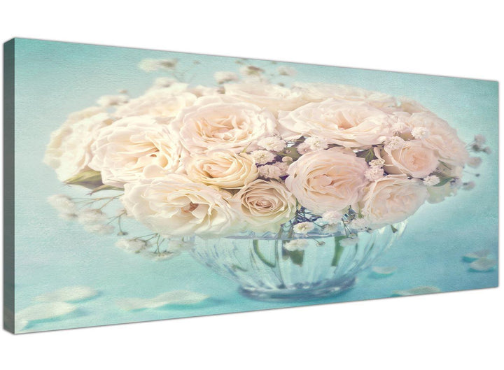 cheap duck egg blue and white roses flowers floral canvas modern 120cm wide 1286 for your living room