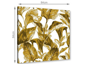 Chic Mustard Yellow White Tropical Leaves Canvas Modern 64cm Square 1S318M For Your Dining Room