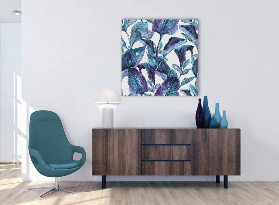 Cheap Turquoise And White Tropical Leaves Canvas Modern 79cm Square 1S323L For Your Kitchen