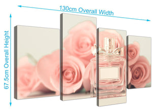 panoramic large shabby chic pink cream rose perfume girls bedroom floral canvas split 4 set 4285 for your girls bedroom