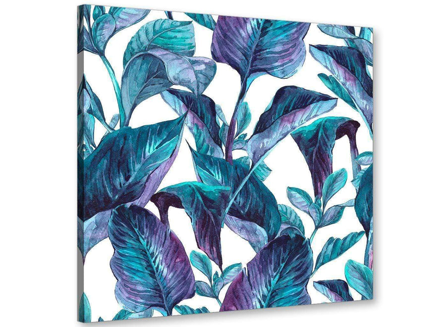 Modern Turquoise And White Tropical Leaves Canvas Modern 64cm Square 1S323M For Your Living Room